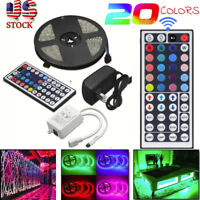 5Waterproof 5M RGB 5050 LED Strip light SMD 44 Key Remote 12V US Power Full Kit