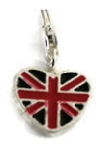 BEAUTIFUL SILVER UNION JACK FLAG HEART CLIP ON CHARM - 3D - SILVER PLATE