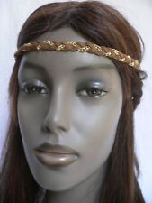 Women Girls Elastic Fabric Brown Gold Head Chain Hair Band Jewelry Boho Fashion