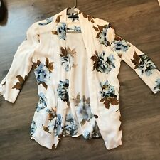 House Of Harlow 1960 White Floral Cardigan Small Women Blue Flowers