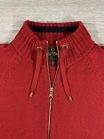Ralph Lauren LRL Sweater Zip Front Cardigan Red Knit Women's Size 1X XL Pockets