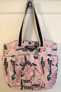 Roxy Purse Handbag Canvas Beach Tote Pink Black Logo 15 X 12 Medium Double Strap