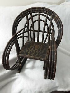 Beautiful Antique Adirondack Painted Twig & Root Childs/Dolls rocking chair