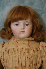 "20"" ABG Antique bisque doll w. human hair wig,cloth body & leather arms & feet"