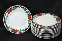 """Tienshan Deck the Halls Xmas Dinner Plates 10.5"""" Lot of 12"""