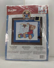 "Plaid Bucilla Baby Counted Cross Stitch Blue Jean Teddy Birth Record 9"" x 8.5"""
