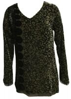 Johnny Was Crushed Velvet Tunic Top Sz XS Abstract Design in Green & Black