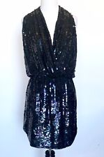 Parker Black Prom Party Sequined Cocktail Dress XS Retails 495 Price $128 NWT