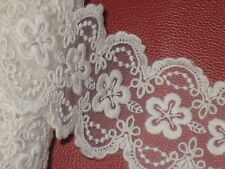 """3 yards in 2 3/4"""" width ivory color high end crochet cotton & organza trim"""