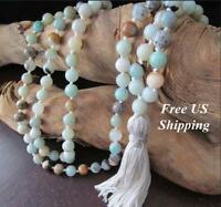 Amazonite Mala Beads 108 Necklace Prayer Yoga Jewelry Japa Meditation Beaded