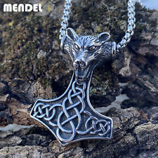 MENDEL Mens Viking Stainless Steel Celtic Knot Mjolnir Wolf Pendant Necklace Men