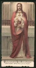 Heiligenbild Jesus mit Nimbus und Kelch, rückseitig Gedicht von Cordula Peregri