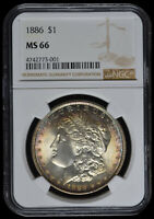 "1886 P Morgan Silver Dollar NGC MS66 Near Flawless Surfaces ""Beautiful Toning"""