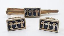 VTG Fenwick & Sailors Sterling Silver 925 Cortes 3 Crosses Cufflinks Tie Clip