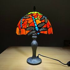 Tiffany 10'' Dragonfly Style Stained Glass Shade Table Lamp For Living Room UK