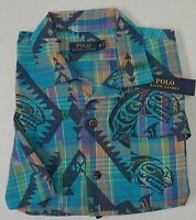 NWT $98 Polo Ralph Lauren Shirt Mens Blue Plaid Native American Short Sleeve NEW