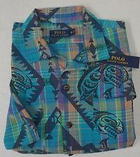 NWT $98 Polo Ralph Lauren Shirt Mens Blue Plaid Native American Short Sleeve NEW