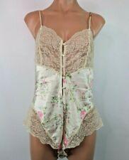 Vintage Christian Dior Lingerie Floral Teddy Lace Romper High Cut Ilgwu Usa sz M