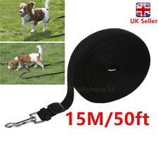 Dog Puppy Pet Training Walking Lead 50ft Long Line Black Collar Harness Rope cck
