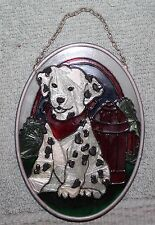 BEAUTIFUL DALMATIAN & FIRE HYDRANT STAINED GLASS SUNCATCHER JOAN BAKER DESIGNS