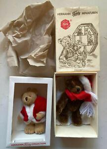 Hermann Teddy Original - 2 Miniaturen Nikolaus und der Weihnachtsmann -Neuwertig