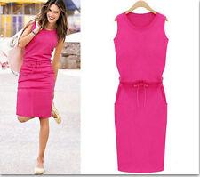 UK Womens Holiday Sleeveless Sundress Ladies Summer Beach Casual Party Dress Pink M/uk 10