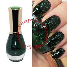 GREEN GLITTER Nail Polish Varnish by Saffron London Crystal Top Coat #66