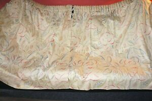 Vintage Bloomsbury Omega style painterly dove & flower lined cotton curtains