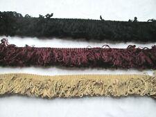 Upholstery Fringe Trim dark burgundy,  gold or black. Per metre