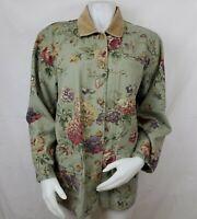 Coldwater Creek Shirt Jacket Sz M Lightweight Canvas Barn Coat Floral Cotton