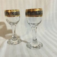 Port Wine Cordial Sherry Glasses with Silver and Gold Rim 2