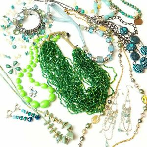 Job Lot Green Boho Jewellery Eclectic Ready Made Set Layer Gift Resell 12 items