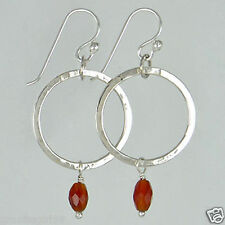 FAR FETCHED Carnelian Bead Circle EARRINGS 925 Sterling Silver - Gift Boxed -NEW