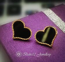 Black Heart Stud Earring//Rose gold/18KGP/RGE584/726