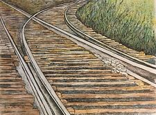 CROSS TRACKS - US, Small, Art Reproduction, Artist, Ink, Realism, Railroad