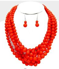 Plastic Red Pearl Multi Layered Strand Statement Bead Chunky Necklace Set