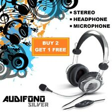 Audifono Silver Headphones with Microphone for Gaming Headset for iPhone Samsung