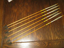 Lot of Six Matching (6) Vintage Hunting Archery Arrows w/ Metal Broadheads 31.5""