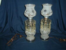 Pair of VTG Hurricane Frosted Glass Table Lamps With Hanging Prisms 15 1/2""