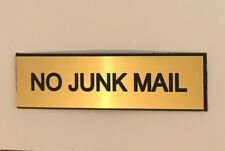 NO JUNK MAIL - GOLD ENGRAVED LETTERBOX SIGN with ADHESIVE - SMALL 7cm x 2cm
