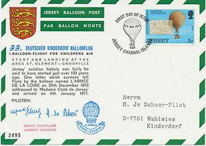 "GB JERSEY 1973 33th German Balloonpost-Flight ""START CANCELLED - UNSAFE WEATHER"""