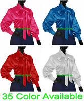 Women Satin Vintage Style long sleeve Bow Blouse Top High Neck Shirt SMALL SIZE