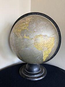 "* RARE 1936 Cram's 12"" HTF Silver Seas Unrivaled Terrestrial Globe Machine Age"