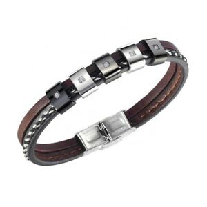 Men's Leather Stainless Steel with Cubic Zirconia Bracelet Black/brown Fashion.