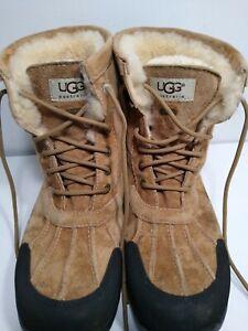 UGG Australia Men's Sherpa Suede Hillard Boot 3020 Brown size 10.5 Rubber Vibram