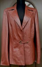 Auth Amazing ESCADA Couture Brown Utmost Quality Nappa Leather Blazer Women's