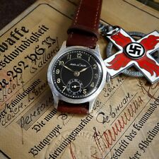"Jaeger LeCoultre ""Luftwaffe"" Black Military WWII Vintage 1942 cal 463 NAZI Watch"