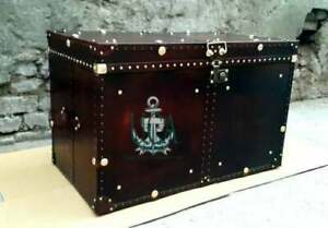 Handmade Leather Brown Finest Leather Trunk with Key Leather Box handmade design