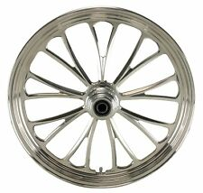 "Polished Manhattan CNC 21"" x 3.5"" Single Disc Front Wheel for Harley & Custom"