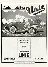 """""""CAMIONNETTE UNIC"""" Annonce originale entoilée L'ILLUSTRATION 5/9/1925 F. COUDERC"""